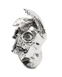 Alexander McQueen | Metallic Feather Skull Ring | Lyst