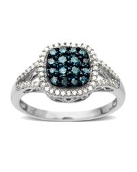 Lord & Taylor | 14kt. White Gold And Blue-green Diamond Ring | Lyst