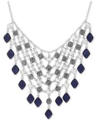 Lucky Brand - Metallic Silver-tone Lapis And Rock Crystal Statement Necklace - Lyst