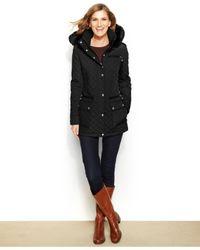 Calvin Klein | Black Faux-fur-trim Quilted Coat | Lyst