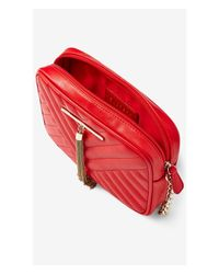 Express - Red Chevron Stitch Metal Tassel Cross Body Bag - Lyst