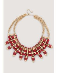 Bebe | Red Stone Sunburst Necklace | Lyst