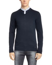 HUGO | Blue Cotton Sweater 'sofanor' for Men | Lyst