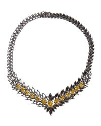 Iosselliani | Metallic Statement Zircon Gunmetal Necklace | Lyst