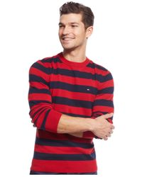 Tommy Hilfiger - Red Signature Striped Crew-Neck Sweater for Men - Lyst