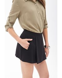 Forever 21 - Black Contemporary Pleated Woven Skort - Lyst