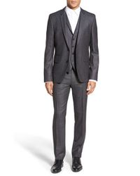 HUGO | Gray Extra Trim Fit Three-piece Wool Suit for Men | Lyst