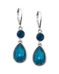 Nine West - Silvertone Faceted Blue Stone Double Drop Earrings - Lyst