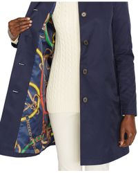 Lauren by Ralph Lauren | Blue Hooded Raincoat | Lyst