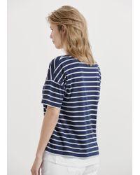 Violeta by Mango - Blue Striped Cotton T-shirt - Lyst