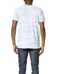 Splendid Mills | White Streaky Stripe Pocket Crew Tee for Men | Lyst