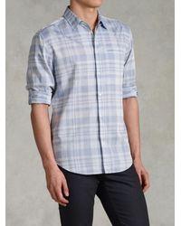 John Varvatos - Blue Adjustable Sleeve Slim Fit Shirt for Men - Lyst
