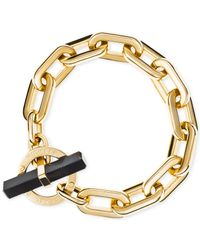 Michael Kors | Black Gold-tone Chain Link Opaque Stone Toggle Bracelet | Lyst