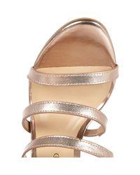 River Island - Metallic Gold Strappy High Leg Heels - Lyst