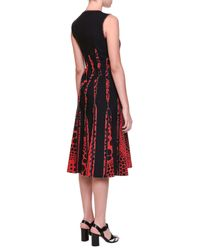 Bottega Veneta - Red Circle-print Silk Godet-pleated Dress - Lyst