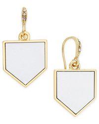 ABS By Allen Schwartz - Metallic Gold-tone Leather Drop Earrings - Lyst