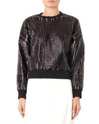 3.1 Phillip Lim - Black Crackle-Coated Sweatshirt - Lyst