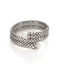 John Hardy | Metallic Dot 11mm White Pearl, Diamond & Sterling Silver Double Coil Bracelet | Lyst
