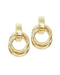 Anne Klein | Metallic Goldtone Circle Drop Earrings | Lyst
