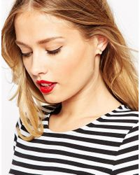 ASOS - Metallic Cube Earrings With Ditsy Pearl - Lyst