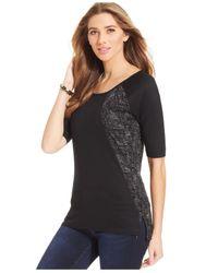 Calvin Klein Jeans   Black Elbow-sleeve Top   Lyst
