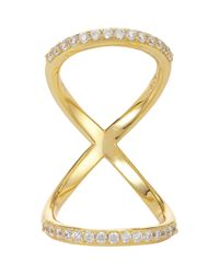 Fallon | Metallic Pave Infinity Bent Ring | Lyst