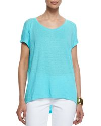 Eileen Fisher | Blue Organic Linen Jersey Cap-sleeve Top | Lyst