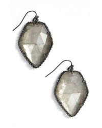 Kendra Scott - Metallic 'corely' Drop Earrings - Gunmetal/ Mirror Rock Crystal - Lyst