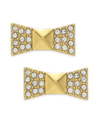 kate spade new york - Metallic New York Earrings 12k Goldplated Pave Crystal Bow Stud Earrings - Lyst