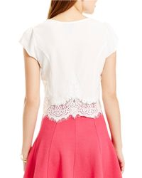 Jessica Simpson | Natural Lace-trimmed Top | Lyst