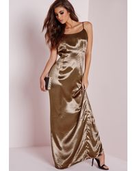 Missguided - Natural Silky Low Back Maxi Dress Copper - Lyst