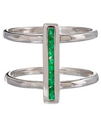 Anna Sheffield - Metallic Silver Pave Emerald Licol Ring - Lyst
