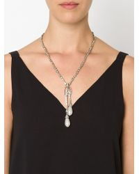 Oscar de la Renta | Metallic Embellished Pendant Necklace | Lyst