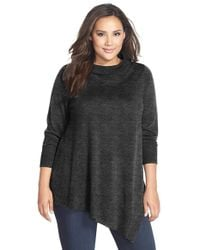 Eileen Fisher | Gray Poncho Style Merino Jersey Sweater | Lyst
