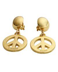 Moschino - Metallic Bijoux Earrings Peace Symbols - Lyst