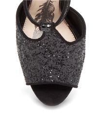 Jessica Simpson | Black Danyy Glitter T-strap Heels | Lyst