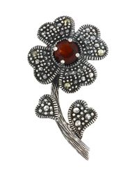 Lord & Taylor | Red Marcasite And Sterling Silver Flower Brooch | Lyst