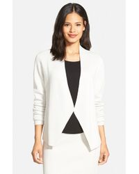 Eileen Fisher - White Silk & Organic Cotton Long Sleeve Sweater Jacket - Lyst
