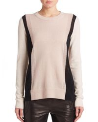 VINCE | Beige Cashmere Colorblock Sweater | Lyst
