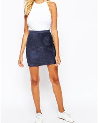American Apparel - Blue Suede Mini Skirt - Lyst