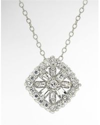 Lord & Taylor | White Cubic Zirconia Flower Pendant Necklace | Lyst