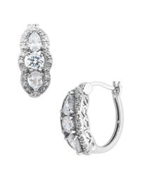 Lord & Taylor | Metallic Sterling Silver Hoop Earrings With Cubic Zirconia Pendants | Lyst
