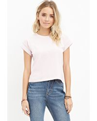Forever 21 | Pink Cuffed-sleeve Boxy Tee | Lyst