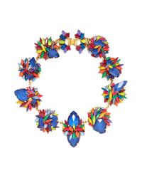 Erickson Beamon | Multicolor 'splash' Floral Crystal Station Necklace | Lyst