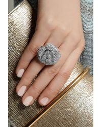 Kenneth Jay Lane | Metallic Rhodium-plated Cubic Zirconia Flower Ring | Lyst