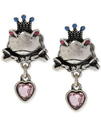 Betsey Johnson | Metallic Silver-Tone Frog Stud Earrings | Lyst