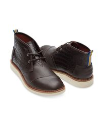 TOMS - Dark Brown Croc Embossed Leather Men's Mateo Chukka Boots for Men - Lyst