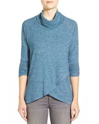Bobeau | Blue Cross Front Cowl Neck Sweater | Lyst