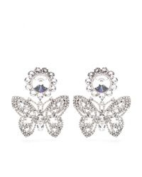 Miu Miu | White Crystalembellished Butterfly Earrings | Lyst