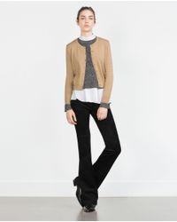 Zara | Natural Cropped Jacket | Lyst
